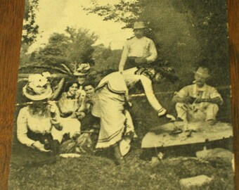 Antique 1890s Victorian Camping Cook out Fashionable Ladies Postcard