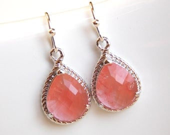 Coral Earrings, Peach Earrings, Glass, Grapefruit, Silver, Weddings, Bridesmaid Earrings, Bridesmaid Jewelry, Bridesmaid Gifts,Dangle, Gifts