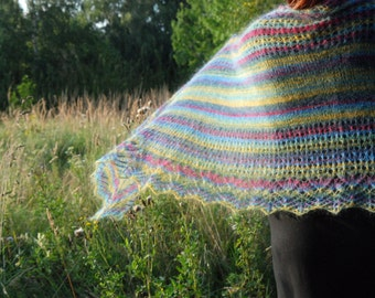 Striped Hand Knit Shawl, Multicolor Knit Shawl, Wedding Hand Knitted Shawl, Evening Stole