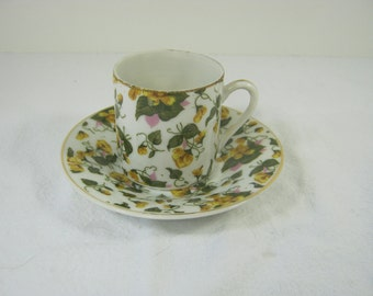 Vintage DEMITASSE CUP Yellow Flowers Morning Glories Tea Saucer Japan