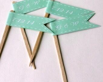 Mint Wedding Cupcake Flags - Monogram Initials - Wedding Date - 1 Dozen