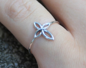 Sterling silver infinity cross ring, silver ring, cross, eco friendly, statement, novelty, women, wedding