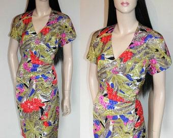 Vintage 80s does 40s Dress / Pin-up / Dita / Burlesque / Retro Chic / Bold Floral Print / Tropical / UK14 / Medium
