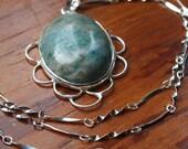 Green Jasper Oval Pendant on Sterling Silver - Semi Precious Gemstone Jewelry, Natural Green Pendant