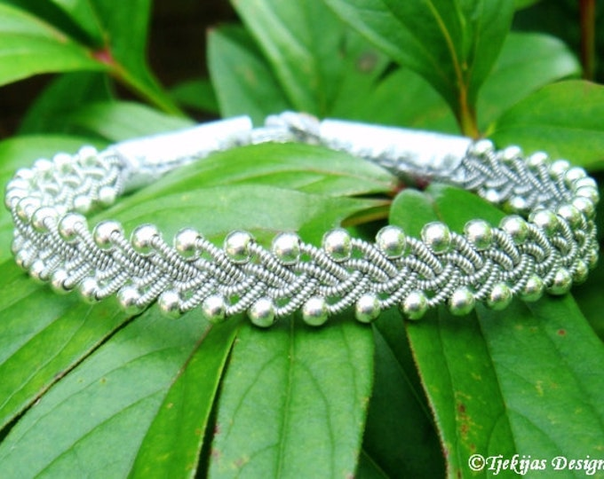 RIMFAXE Silver Sami Bracelet. Swedish Lapland Reindeer Leather Bracelet with Braided Pewter Wire and Sterling Silver Beads Custom Handmade