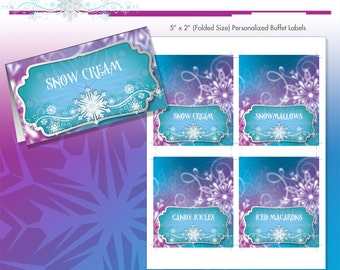 Frozen Princess Winter Snowflakes Printable Tent Cards - Birthday Party Candy Buffet Labels - DIY - Do-It-Yourself Printables - Ice Princess