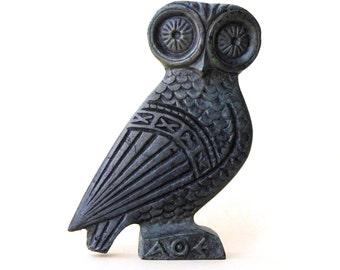 Bronze Owl, Greek Metal Art Sculpture, Museum Quality Art, Greek Art, Ancient Greece, Goddess Athena Symbol, Bird of Wisdom, Metal Bird