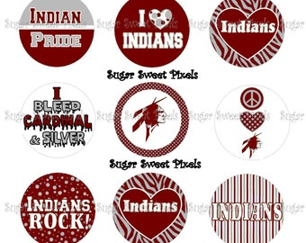 INSTANT DOWNLOAD Cardinal & SIlver Indians School MAscot 1 inch circle Bottlecap Images