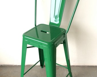 "Custom Tolix Style High Back Chair Counter Stool in 26"" Height:  Painted in the Color of Your Choice"