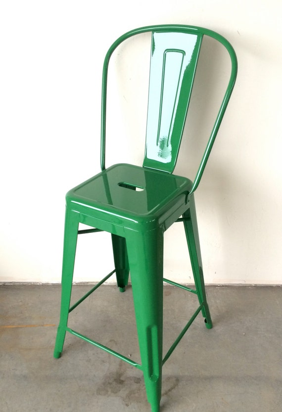 """Custom Tolix Style High Back Chair Bar Stool in 30"""" Height:  Painted in the Color of Your Choice"""