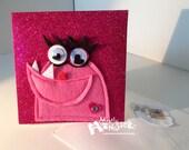 Glitter Blank Monster greeting card SMUG MONSTER in Pink Sparkle felt applique single card