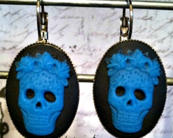 Sugar Skull Halloween Earrings in Blue and Black with Lever Back Hooks