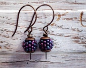 Bramble - handmade earrings, purple earrings, handwoven earrings, berry earrings, bead earrings, petite earrings, berry jewellery