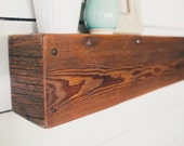 Rustic Driftwood and Barn Board Floating Shelf or Mantle with Antique Hand Forged Nails