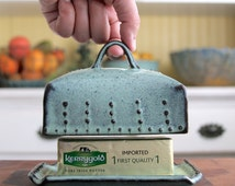 Butter Dish European Size with Lid and Handle - Rustic Aqua Mist - French Country Home Decor - MADE TO ORDER