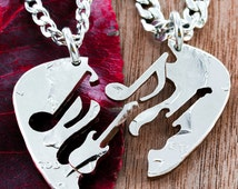 Guitar Pick Interlocking Necklaces with Music Note and Guitar, Hand Cut Coin