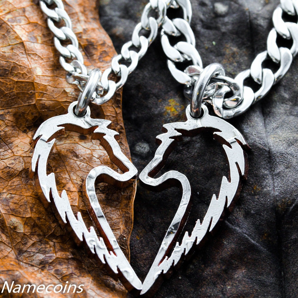 Tribal Wolf Necklace Couples Jewelry set handcrafted half