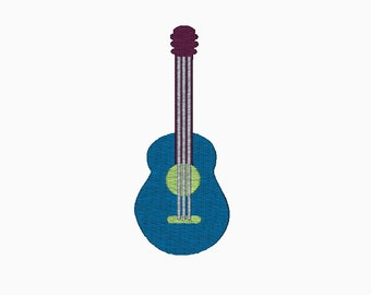 Guitar embroidery design INSTANT DOWNLOAD comes in three sizes.  Machine embroidery