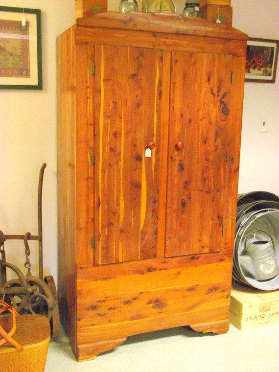 Beautiful CEDAR Armoire Wardrobe with Double by OldMillVintage