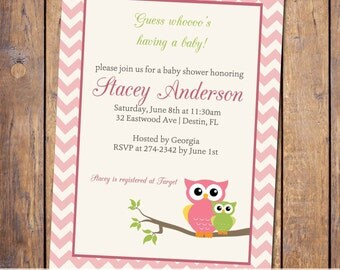 Owl Baby shower invitation, gender neutral, baby shower invitations, modern baby shower invitation, digital, printable file (item4)