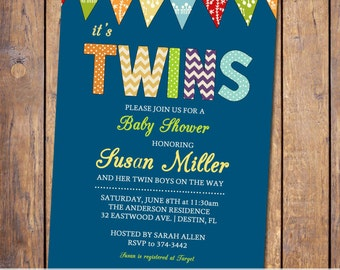 twin boys baby shower invitations, boys baby shower invitations, modern shower invite,blue orange yellow and green, gender neutral (item26c)