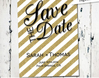 Glitter save the date, Modern Save the Date, printable save the date, gold, black and white, striped , digital file (JPDF56)