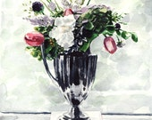 English Garden Tulip Flower Arrangement - Giclee Print of Watercolor - Tulips Silver Pitcher Kentucky Derby Books Floral Bouquet