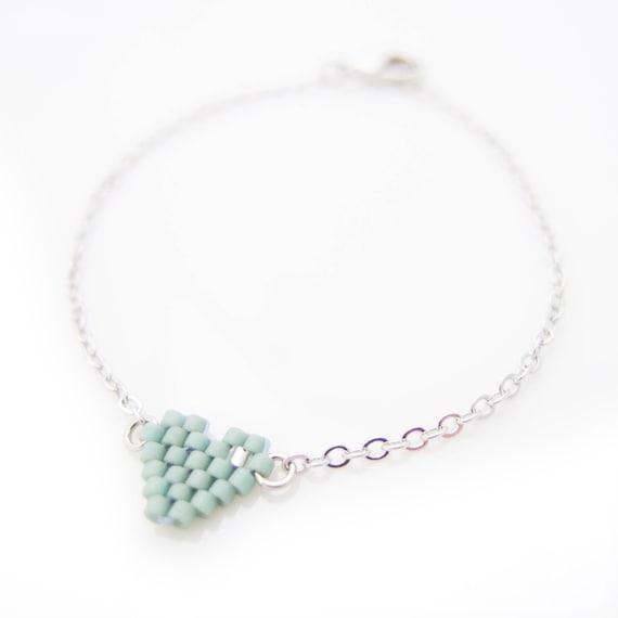 Heart Bracelet, Small Heart Bracelet, Mint Bracelet, Beaded Bracelet, Dainty Bracelet, Silver Chain Bracelet, BFF Bracelet, Promise Bracelet