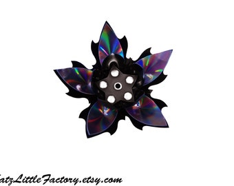 Large Cyber Flower in Shiny Iridescent Pewter Rainbow Mirror and Black PVC Spiky Studded Hairpiece Gothic Industrial Hair Clip