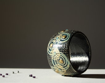 Wooden Bangle,Black Wooden Bracelet, HAND PAINTED, Gold Mint Swarovski