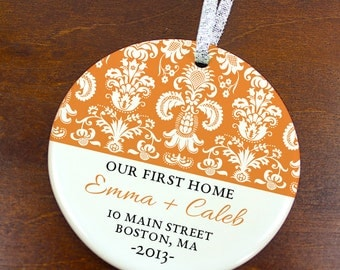 Our First Home Christmas Ornament - Damask Pattern - Personalized Porcelain Housewarming Holiday Gift - orn120 - Peachwik - Custom Colors