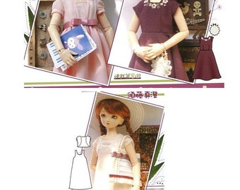 BJD MSD 3 Dresses, 1 Shrug and 1 Tote Bag Sewing Pattern PDF English templates names, Symbols key included