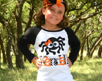 Halloween Long Sleeved Personalized Spider Shirt, Size 6-12m to 12yrs