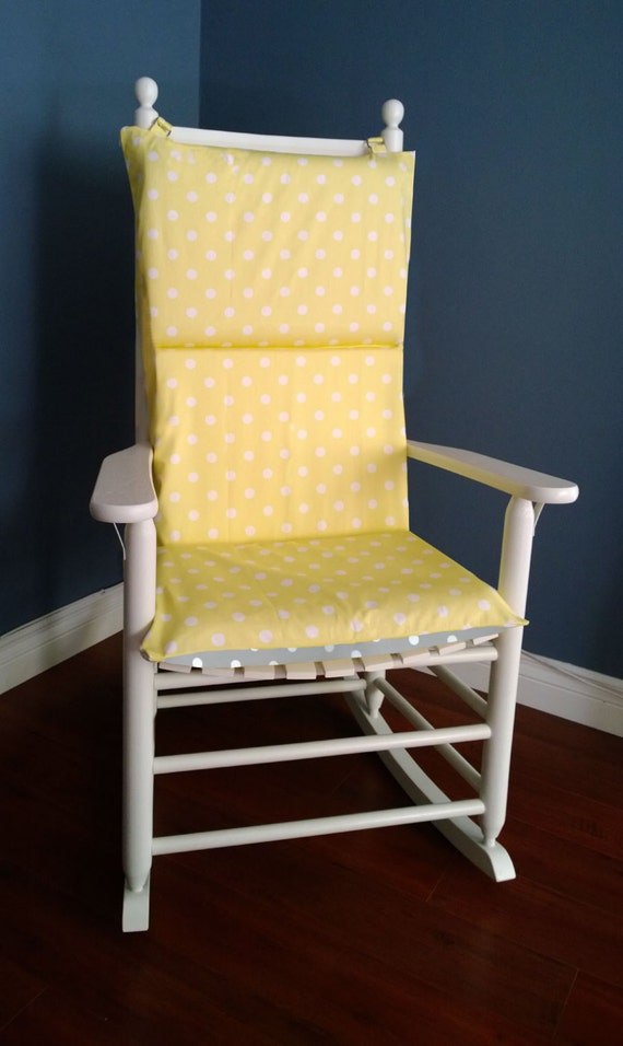 Rocking Chair Cushion Cover Yellow Grey Polka Dot