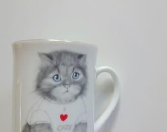 Vintage Otagiri I Love Cats Coffee Mug 1980s