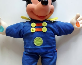 Vintage Mickey Mouse Squeaky Doll Toy 1990