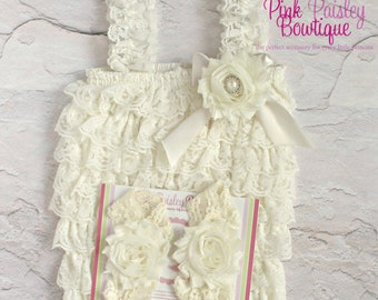 Baptism Outfit - 3 or 4 pc SET- Ivory Baby Outfit - Baby Girl Rompers - Christening Dress - Cream Baptism Dress - Baptism Baby Outfit