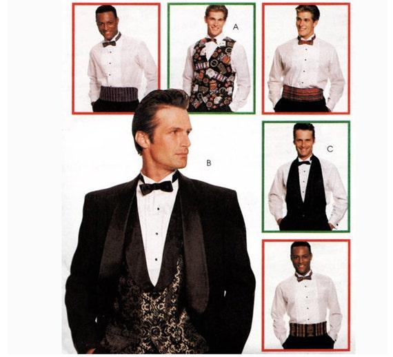 McCall's 8000, 2 Styles Vest, 3 Button Cut-away Full Deep V with Collar (Front only) 4 Button Full Vest, Cummerbund, Bow Tie, Sz Sm-L, Uncut