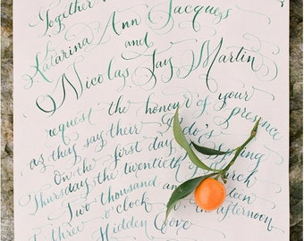 Hand Lettered Wedding Invitation - Calligraphy by Hand - Invitation and RSVP Card - Watercolor | Clémentine