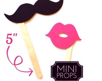 Set of 12 MINI Props - Kid Friendly Mustaches and Lips on a stick - Hot Pink and Black