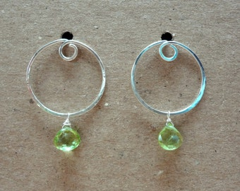 Sterling silver hammered double circle post earrings. August birthstone earrings. Convertable hoops with peridot (or smoky quartz) for women