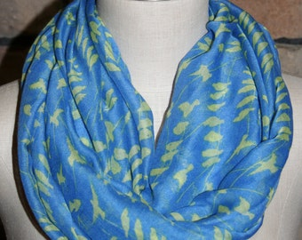 Birds on Branch Light Blue Infinity Scarf-Blue Bird Print Scarf Chunky Infinity Scarf -Loop Scarf-SewPriorAttireMitten