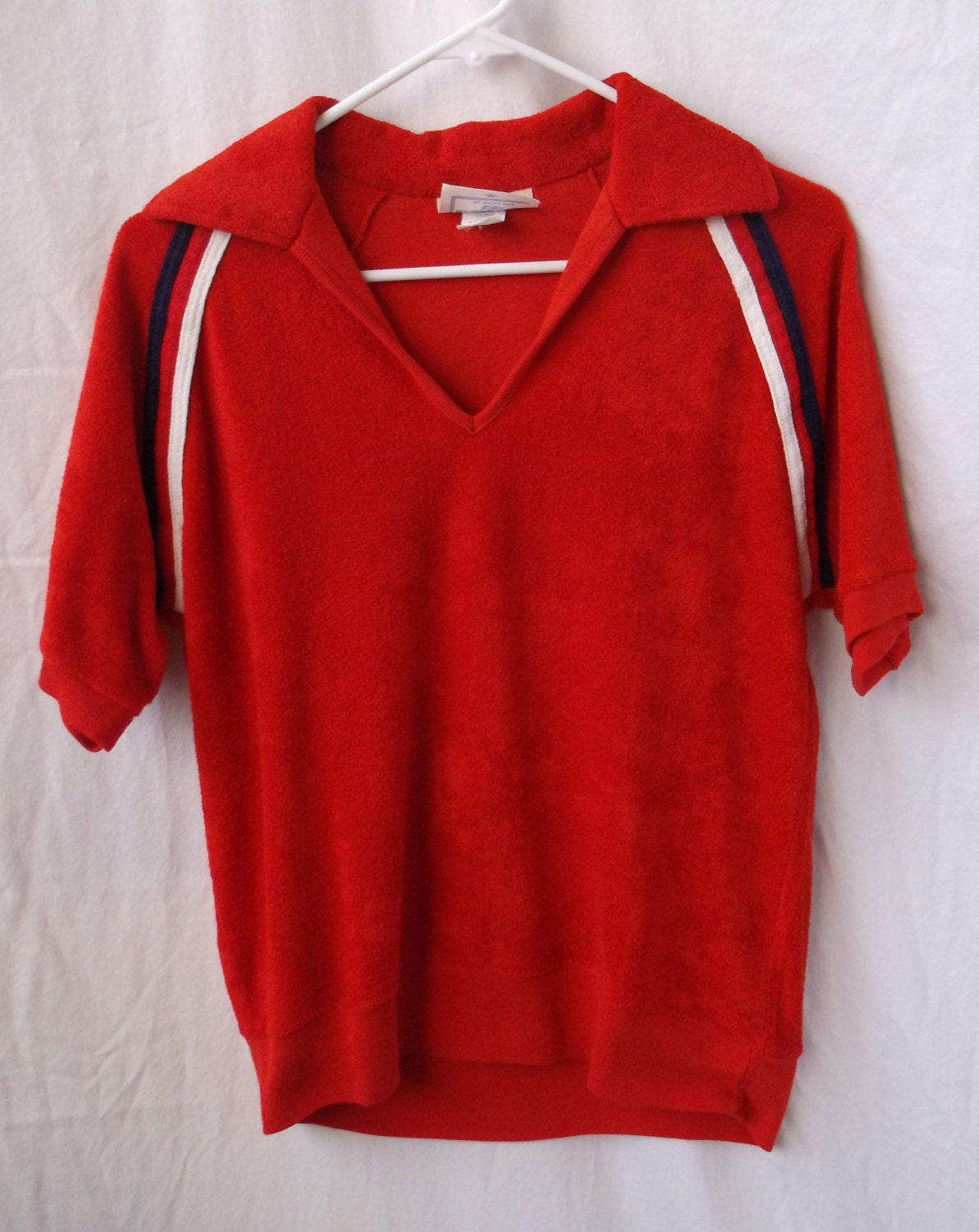 1970s terry cloth tennis polo shirt by by blackribbonvintage for Terry cloth polo shirt