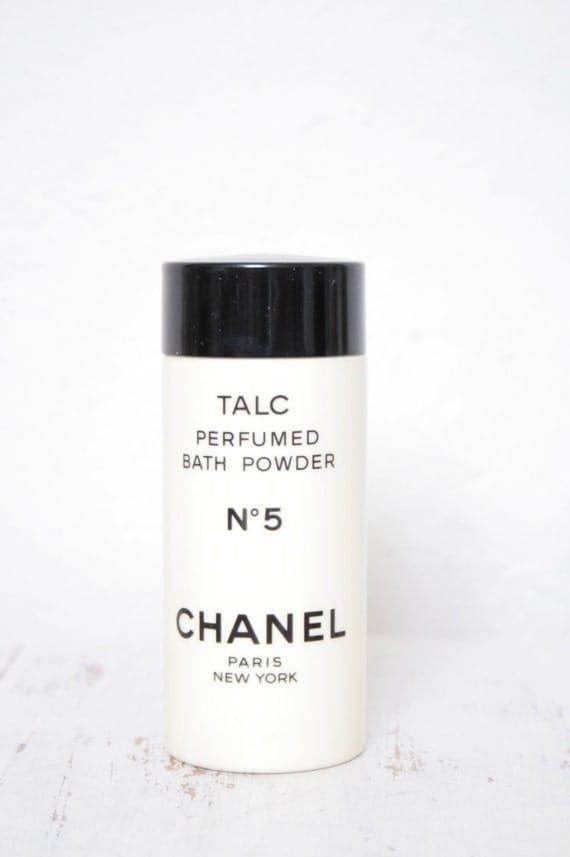 Vintage Chanel No 5 Talc Bath Powder Plastic Bottle By