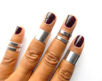 Above Knuckle Rings, Wide and Medium, 6 Adjustable Midi Rings, Stacking rings, Shiny silver rings, Edgysheeq statement rings