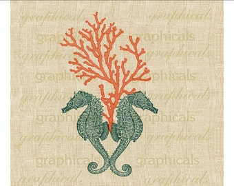 Teal seahorse Coral Instant digital download for iron on fabric transfer burlap decoupage paper totebags pillows tags Item No 1864