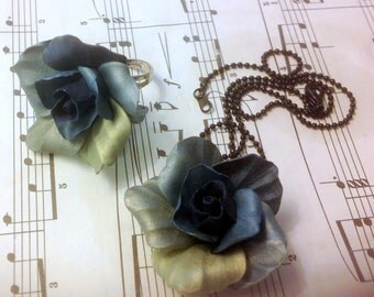 Shimmery Ocean Roses - Handmade Jewelry Set for Weddings and Parties - Necklace and Statement Cocktail Ring