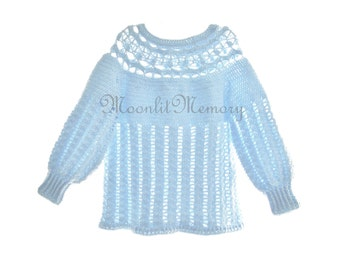 Blue Crochet Sweater 1X Plus Size Pullover Chunky Layering Top Metallic