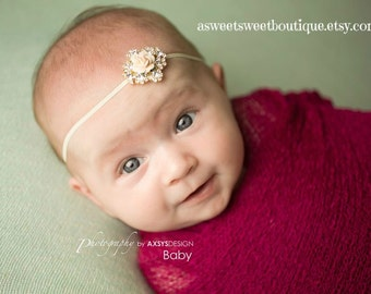 Simple Newborn Headband Dainty Headband For Baby Gold Headband Gold Rhinestone Headband Baby Rhinestone Headband Vintage Newborn Photo Prop