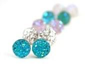 Aqua Blue Druzy Post Earrings, Glitter Blue Druzy Earrings, Druzy Stud Earrings, Vibrant Summer Blue Glitter Earrings, Blue Drusy Earrings
